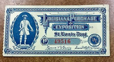 {BJ STAMPS} 1904 Louisiana Purchase Exposition Admission Ticket for1 day only