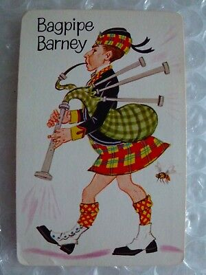 bAGPIPE BARNEY OLD MAID REPLACEMENT SINGLE SWAP GAME PLAYING CARD VTG neocurio