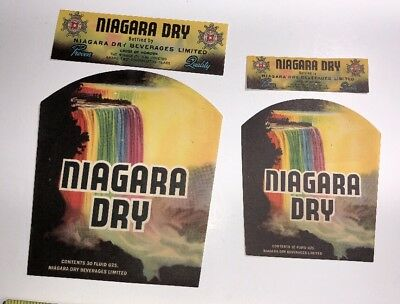 Two different Niagara falls dry soda pop labels with the rainbow color falls