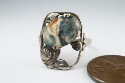 PRETTY ANTIQUE ENGLISH ARTS & CRAFTS MOSS AGATE FLORAL RING c1920 $1 N/RES
