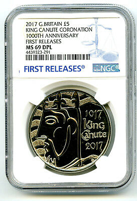 2017 Great Britain 5Pnd 1000Th Annv King Canute Ngc Ms69 Dpl First Release Rare