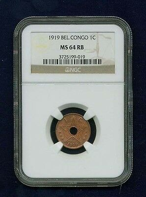 Belgian Congo 1919  1 Centime Coin Certified Choice Uncirculated Ngc Ms64-Rb