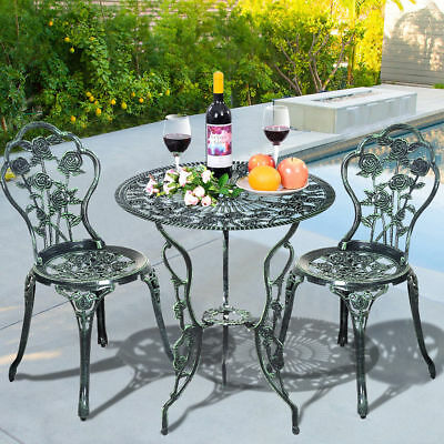 Cast Iron & Aluminum Antique Style Patio Garden Furniture Chair Dining Table Set