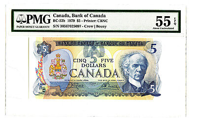 1979 $5 BANK OF CANADA PMG 55 EPQ BC-53b BANKNOTE CROW BOUEY S/N 30567025097