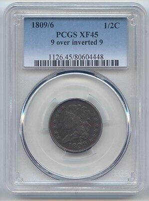 1809/6 Overdate Classic Head Half Cent, PCGS XF-45, 9 Over Inverted 9