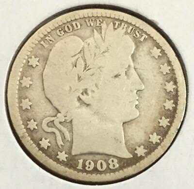 1908D US Barber SILVER Quarter! Very Good Detailed & Cleaned! Old US Coins!