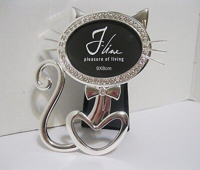 "Cat Shaped Picture Frame - Silver & Rhinestones - J-Line ""Pleasure Of Living"""