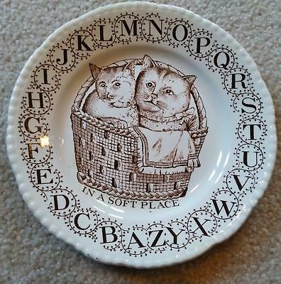 Child's ABC Plate Two Kittens in Basket Adams Ironstone Wedgwood XLNT!