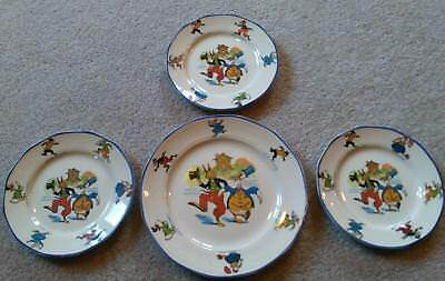 4 Vintage Uncle Wiggily Child's Plates 1 Large &  3 Small Sebring Pottery OLD!