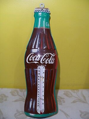 Large Vintage Donasco Coca Cola Coke Tin Metal Thermometer Sign Works Fine