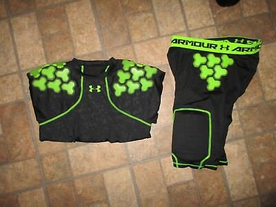 Lot of 2 UNDER ARMOUR FOOTBALL padded compression shirt & shorts - sz LARGE/XL