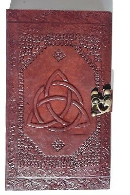 Triquetra Hand crafted Leather Book of shadows spells Journal Keepsake