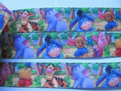 "BB Ribbon WINNIE THE POOH IN THE WOODS 2m grosgrain 7/8"" 22mm  tigger eeyore"