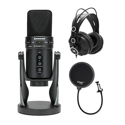 Samson G-Track USB Microphone with Headphones and Knox Pop Filter