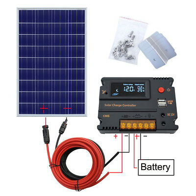 100W Poly Solar Panel Kit & 20A LCD Controller 12V Off-Grid  Boat Caravan Home