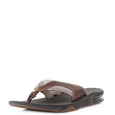 5d5ec718c8ed Mens Reef Leather Fanning Brown Brown Grey Premium Comfort Flip Flops Size