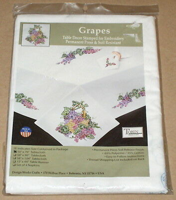 """Tobin """"Grapes"""" Grapevine Stamped Embroidery / Cross Stitch Tablecloth 50x70"""""""
