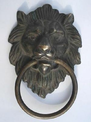 Authentic China Fengshui Brass Lion Foo Fu Dog Head Mask Statue Old Door knocker
