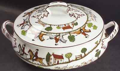 Crown Staffordshire HUNTING SCENE Round Covered Vegetable Bowl 1184424