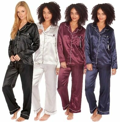 Ladies Womens Satin Pyjama Pj Set Lounge Wear Sleep Wear Night Suit