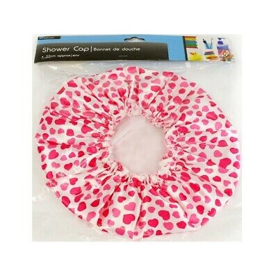 Ladies Pink Heart Design Shower Cap Hat Waterproof Bathroom One Size Fits All