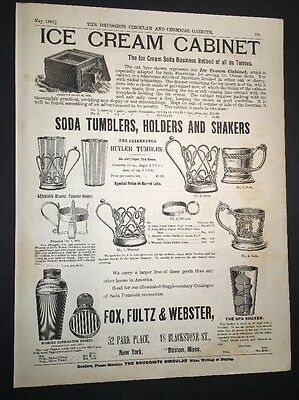 Fox Fulton Webster Ice Cream Cabinet Soda Fountain Holders  Illustrated 1892 Ad
