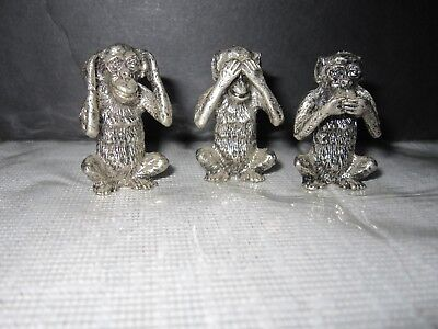 "Set of 3 Pewter Monkey 1.5"" Tall Figurines-- See Hear Speak No Evil"