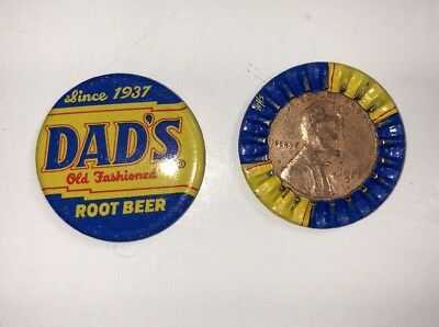lot of 2 Vintage  Dads Root beer Bottle Cap With 1937 Encased Wheat Penny