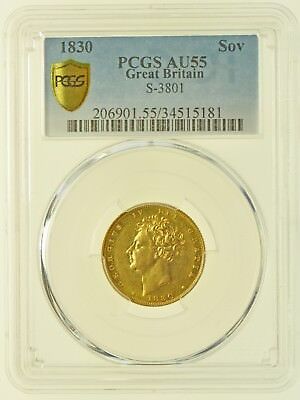 1830 Sovereign, Slabbed Pcgs Au55, British Gold Coin From George Iv
