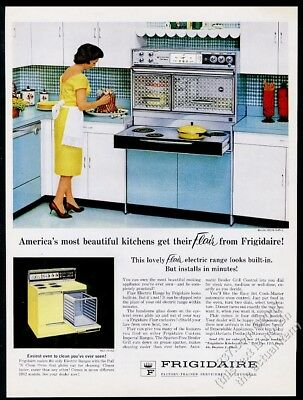 1962 Frigidaire Flair blue range double oven pull-out cooktop photo vintage ad