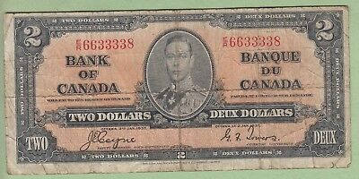 1937 Bank of Canada 2 Dollar Note - Coyne/Towers - E/R6633338 - VG