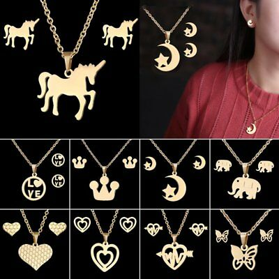 Stainless Steel Gold Plated Horse Heart Pendant Necklace Earrings Jewelry Set