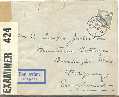 Sweden 1943 creased censored airmail cover to Torquay