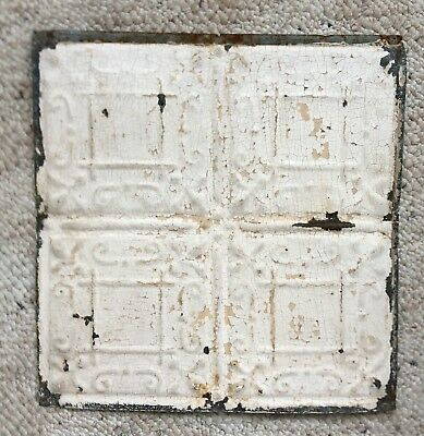 1890's 12 x 12 Antique Tin Ceiling Tile Ivory Metal Reclaimed Anniversary 128-18
