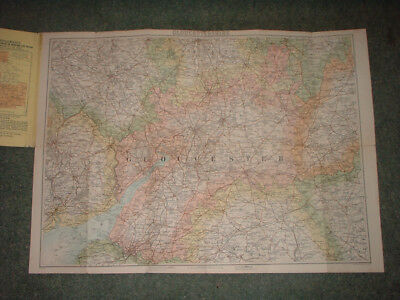 vintage CLOTH BARTHOLOMEWS MAP GLOUCESTERSHIRE BRISTOL SHEET POCKET SERIES