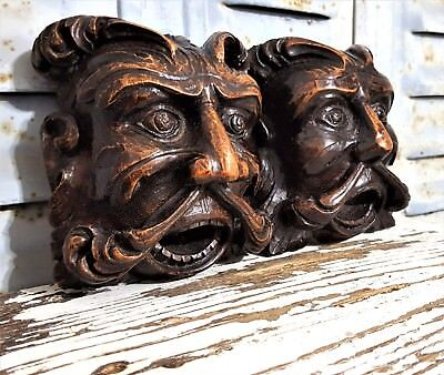 2 Gothic Green Man Figure Antique French Carved Wood Salvaged Furniture Ornament