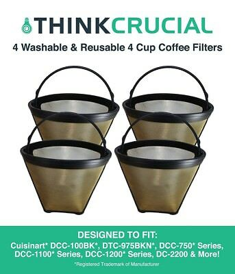 4 Replacements Cuisinart GTF4 Gold Tone Coffee Filters Part # DCC-450 Small