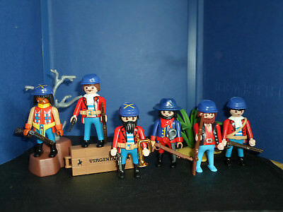 6 NORDSTAATEN SOLDATEN mit KUTSCHE CIVIL WAR 1861 - 1865 TOP PLAYMOBIL TOP
