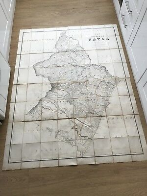 Original Linen Map 1875 Map Of Then Colony Of Natal Mair Folding Good Condition