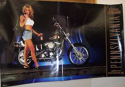Coors Beer Harley Davidson Electric City Pennsylvania Poster