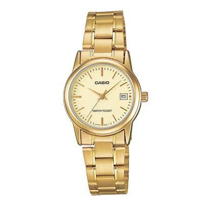 NEW Casio LTPV002G-9A Women's GOLD Stainless Steel Watch Analog DATE Display