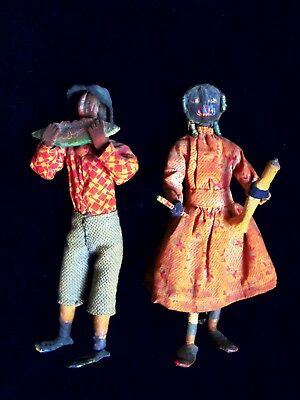PAIR Loveleigh Black Dolls Americana Folk Art Topsy Watermelon Boy Primitive GA