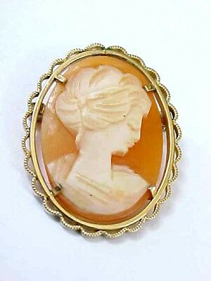 Vintage KREMENTZ Gold Filled CARVED SHELL CAMEO Pin Brooch