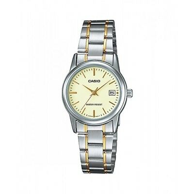 NEW Casio LTP-V002SG-9A Women's Stainless Steel Watch Two-Tone GOLD-SILVER DATE