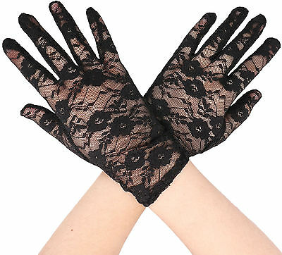 UV Wedding Bridal Five Finger Formal Driving Wrist Lace Full Gloves Lady Girls
