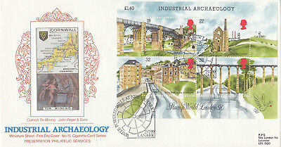 (09691) GB PPS Cigarette FDC Industrial Archaeology minisheet New Lanark 1989