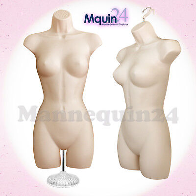 One FEMALE TORSO MANNEQUIN - Flesh Women Dress Form w/ Stand & Hook for Hanging