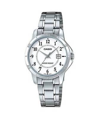NEW Casio LTP-V004D-7B Women's Stainless Steel Watch SILVER Dial Date