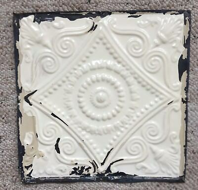 1890's 12 x 12 Antique Tin Ceiling Tile Ivory Metal Reclaimed Anniversary 135-18