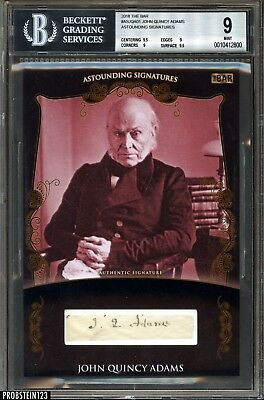 2018 The Bar President John Quincy Adams Signed Cut Autograph 1/1 BGS 9